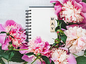 istock Beautiful greeting card with the word MAY 1130342245