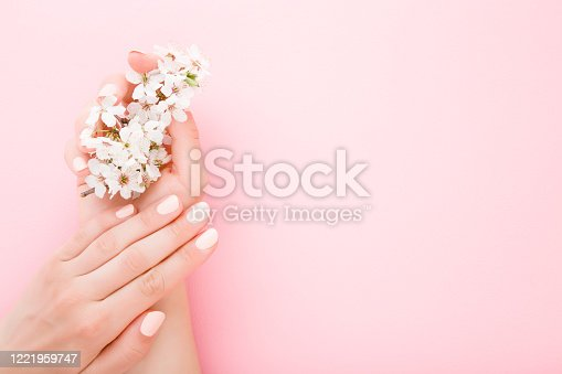 1147741037 istock photo Beautiful groomed woman hands with white branch of cherry blossoms on light pink table background. Pastel color. Closeup. Manicure beauty salon concept. Empty place for text or logo. Top down view. 1221959747