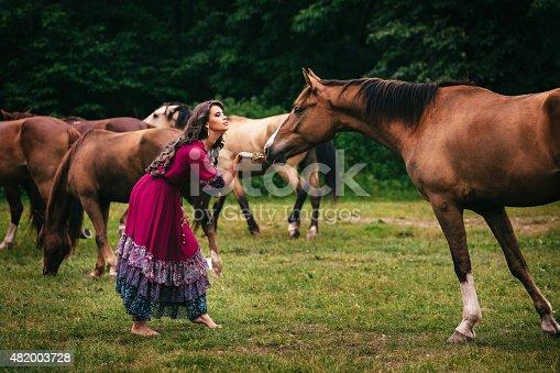istock Beautiful gypsy in violet dress 482003728
