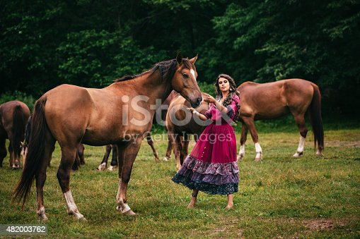istock Beautiful gypsy in violet dress 482003762