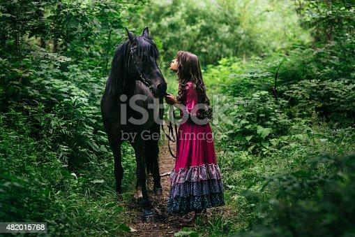 istock Beautiful gypsy in violet dress 482015768