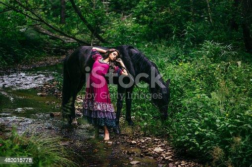 istock Beautiful gypsy in violet dress 482015778