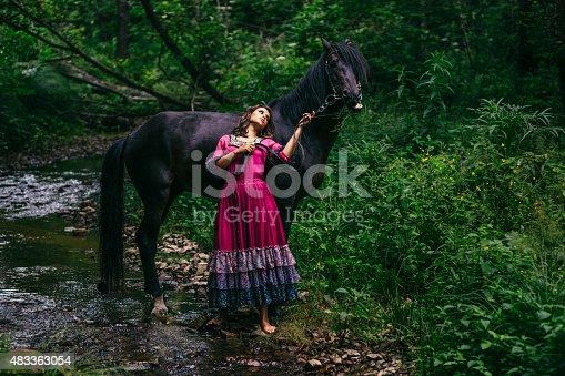 istock Beautiful gypsy in violet dress 483363054
