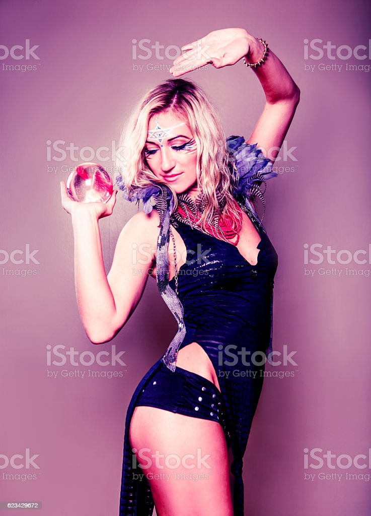 Beautiful Gypsy Woman with Crystal Ball stock photo