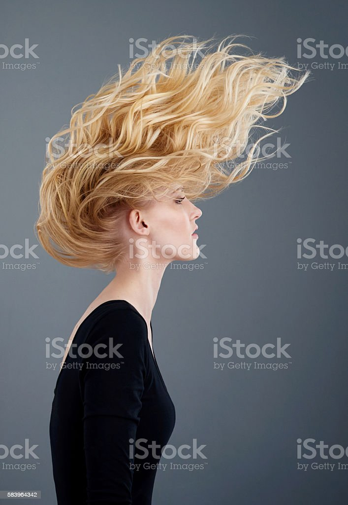 Beautiful hair from the roots to the tips stock photo