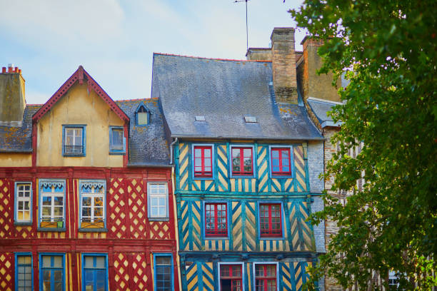 Beautiful half-timbered buildings in medieval town of Rennes, France stock photo