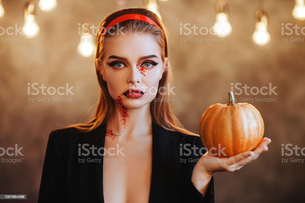 Beautiful Halloween Vampire Woman portrait. B stock photo