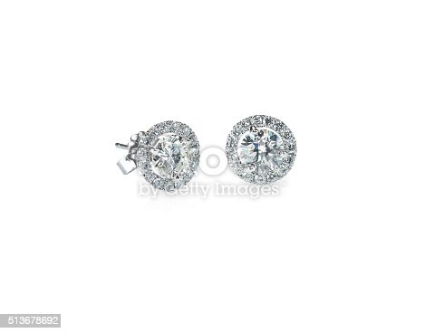 istock Beautiful Halo Diamond Stud earrings 513678692