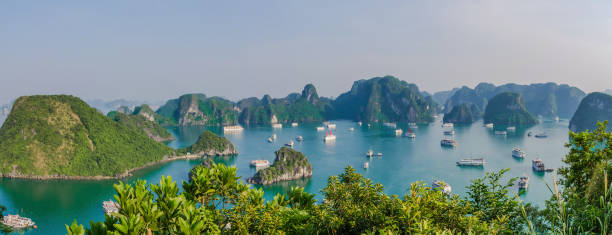Beautiful Halong Bay landscape view from the Ti Top Island. stock photo