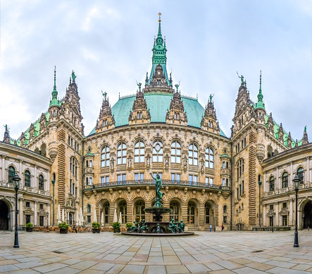 Beautiful Hamburg town hall with Hygieia fountain from courtyard, Germany
