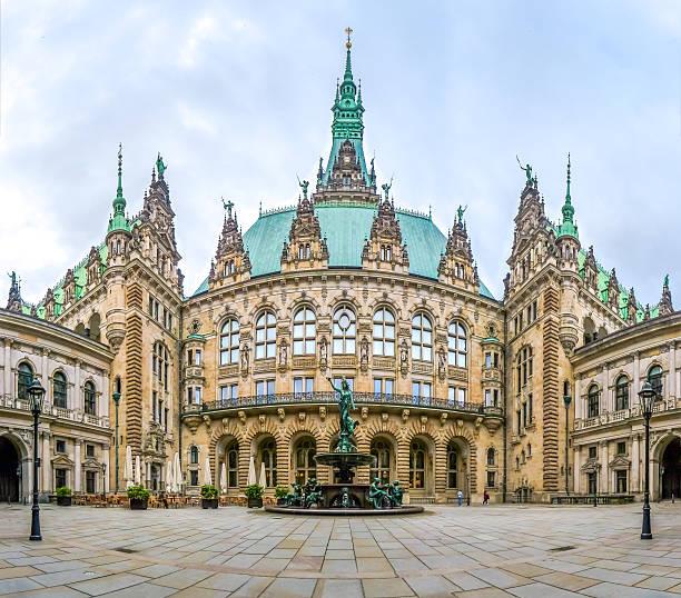 beautiful hamburg town hall with hygieia fountain from courtyard, germany - münchens nya rådhus bildbanksfoton och bilder