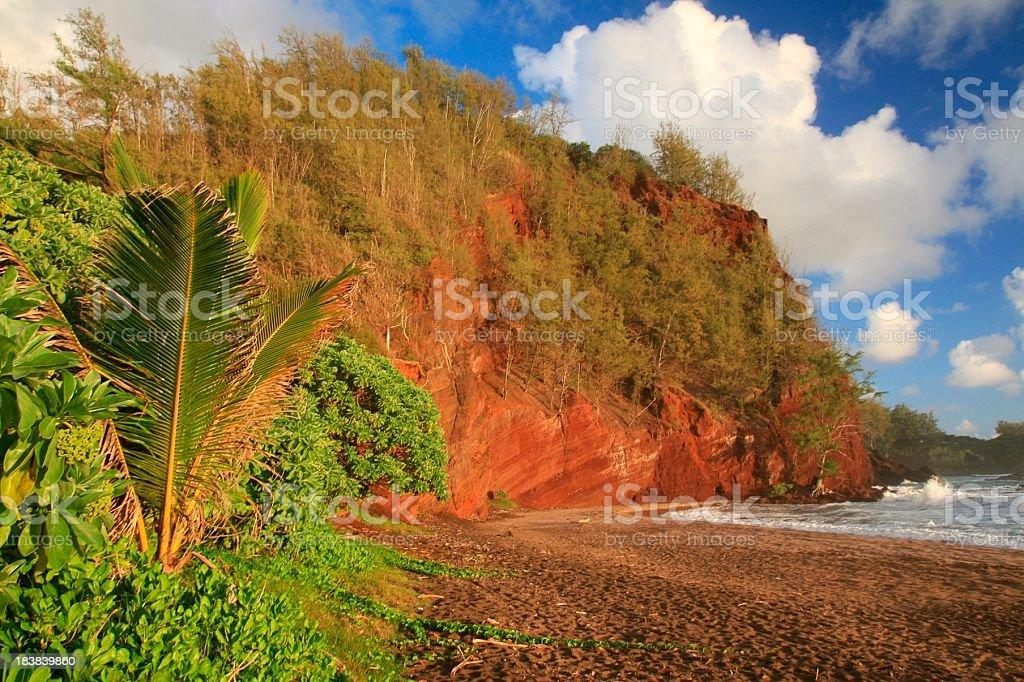 Beautiful Hana Maui Hawaii beach and sunset royalty-free stock photo
