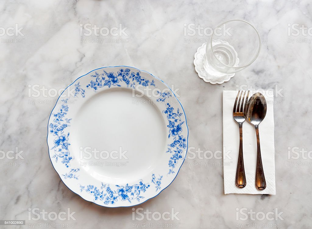 beautiful hand painted plate in oriental style's table setting stock photo