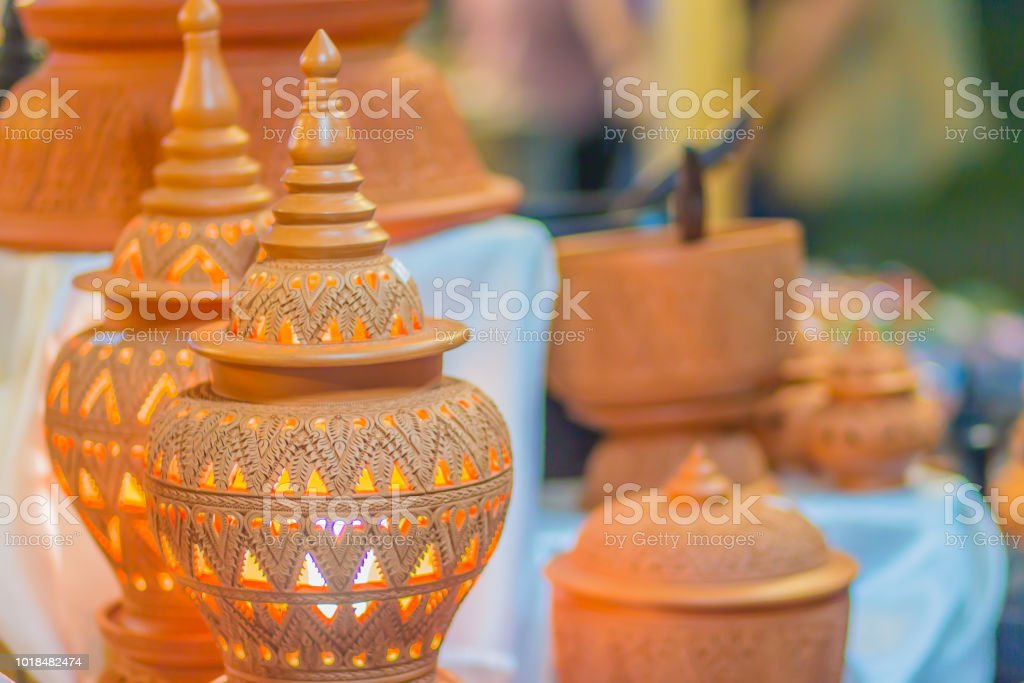 Beautiful Handmade Clay Ceramic Lamp In Thais Style Patterns Earthenware Pottery Lamp With Thai Style Texture Stock Photo Download Image Now Istock