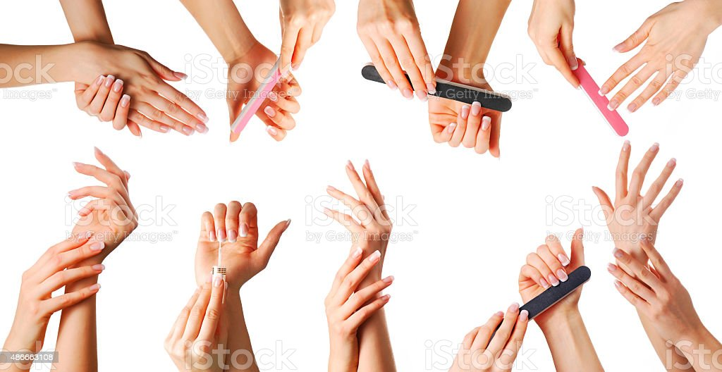 Beautiful hands set stock photo