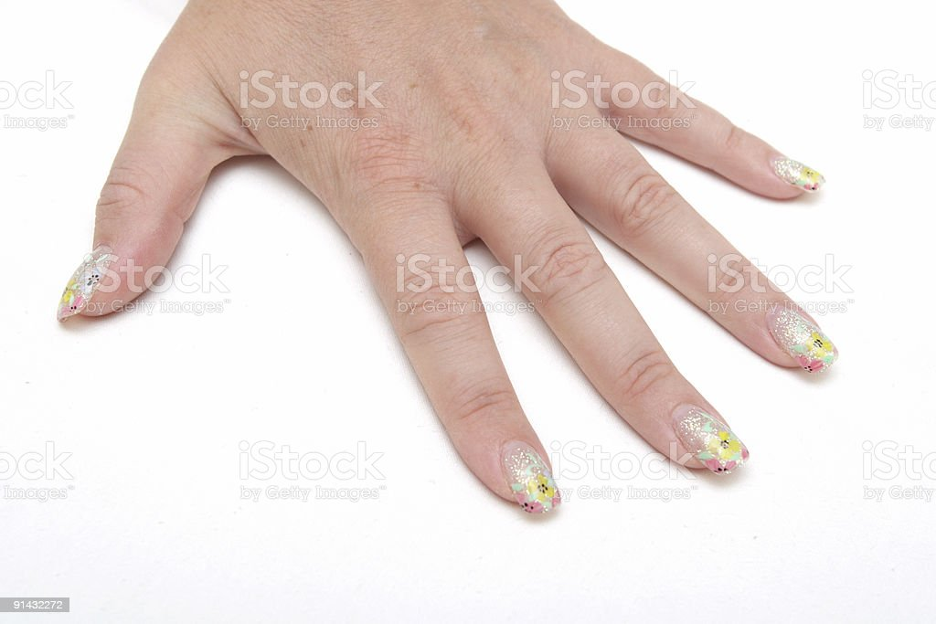 beautiful hands showing nails with figure royalty-free stock photo