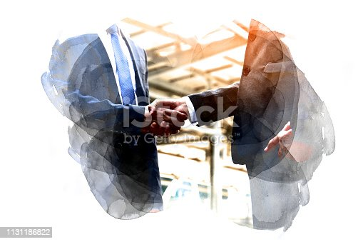 istock Beautiful handshake close up on watercolor illustration painting background. 1131186822