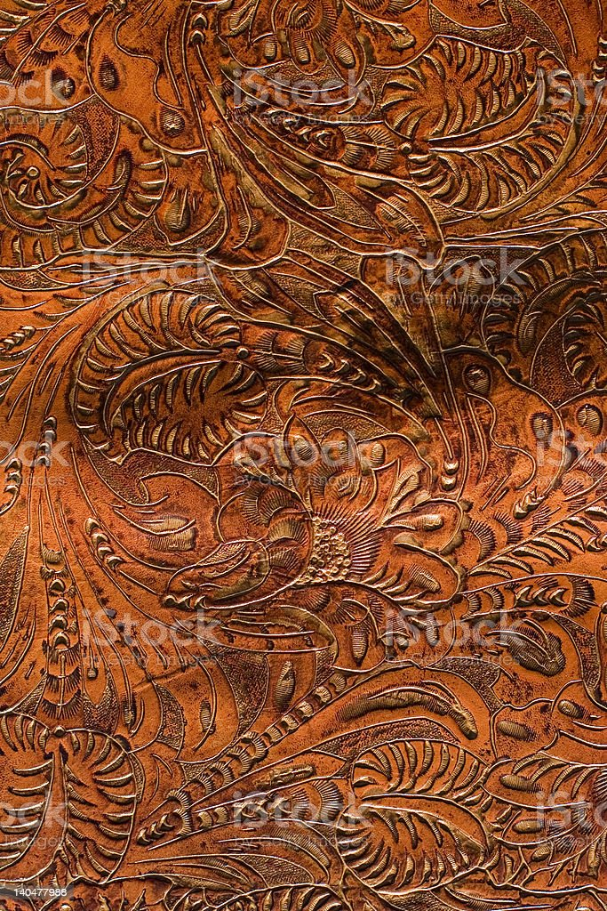Beautiful Hand-Tooled Saddle Leather stock photo