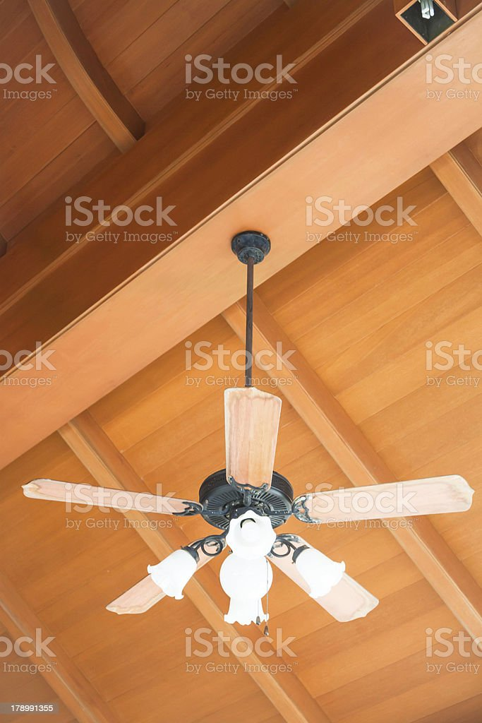 Beautiful hanging ceiling fan with glass lamps stock photo