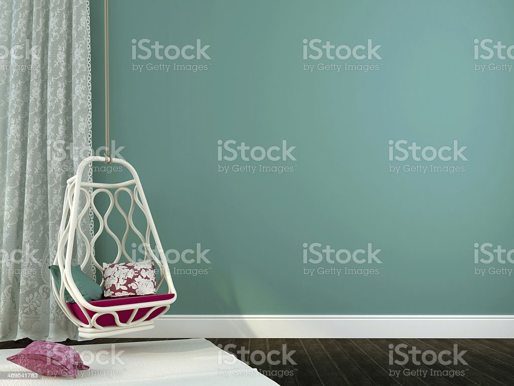 Beautiful hanging chair with pink decor stock photo