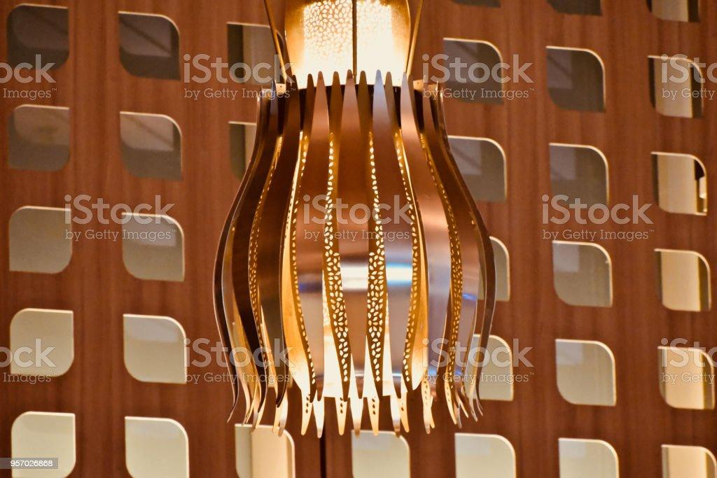 Beautiful hanging metallic lamp shade unique photo stock photo