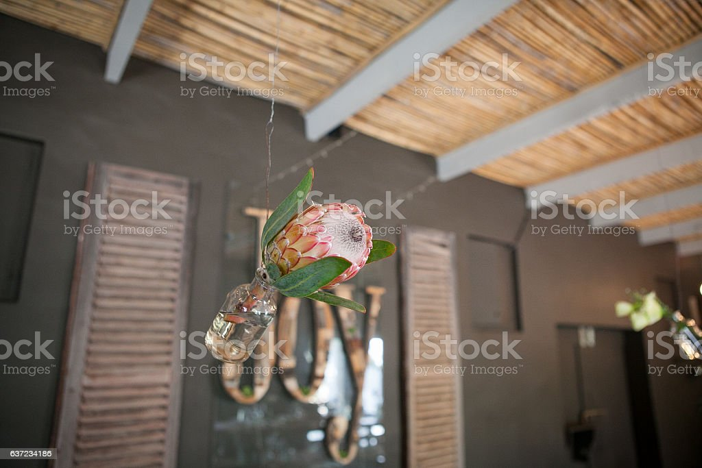 Beautiful hanging wedding decorations stock photo
