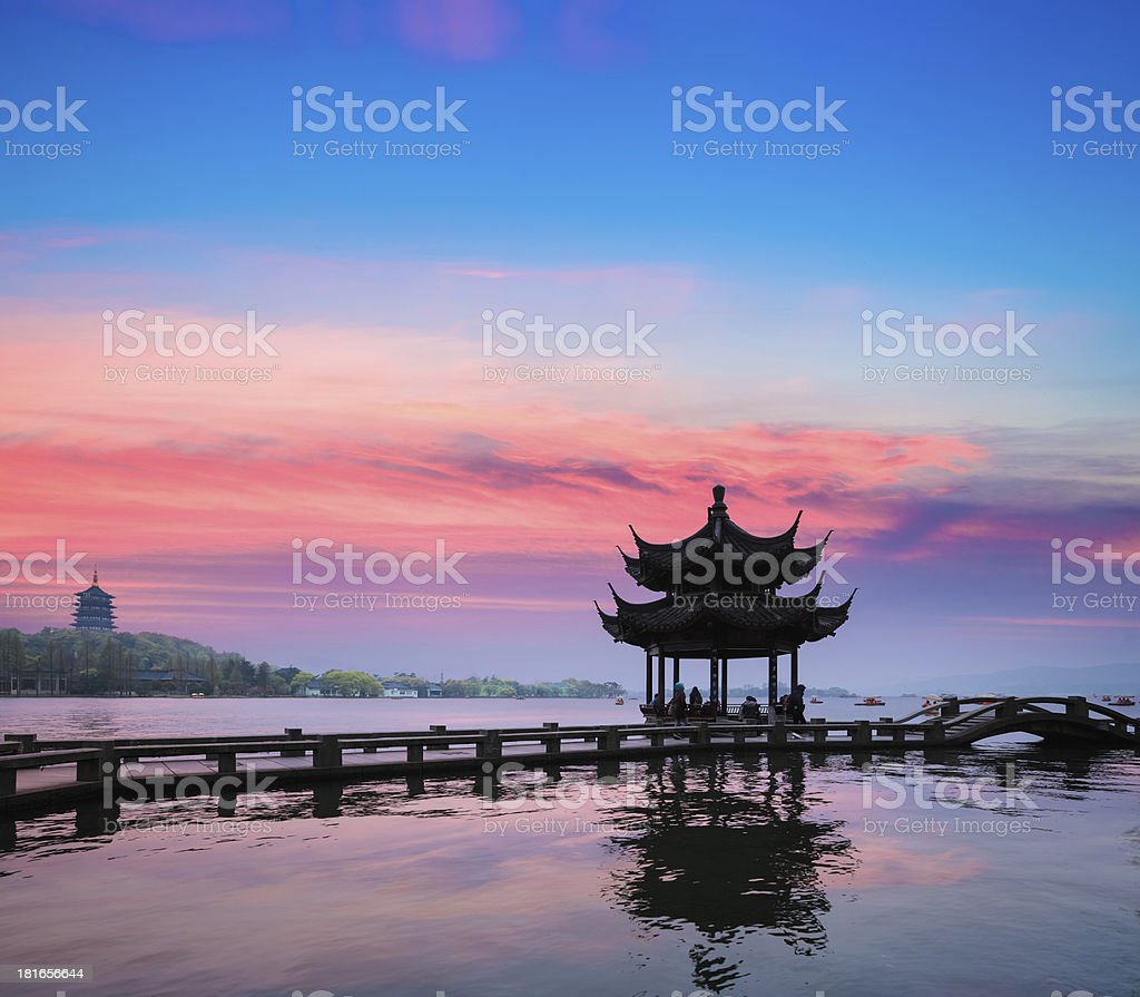 beautiful hangzhou in sunset stock photo