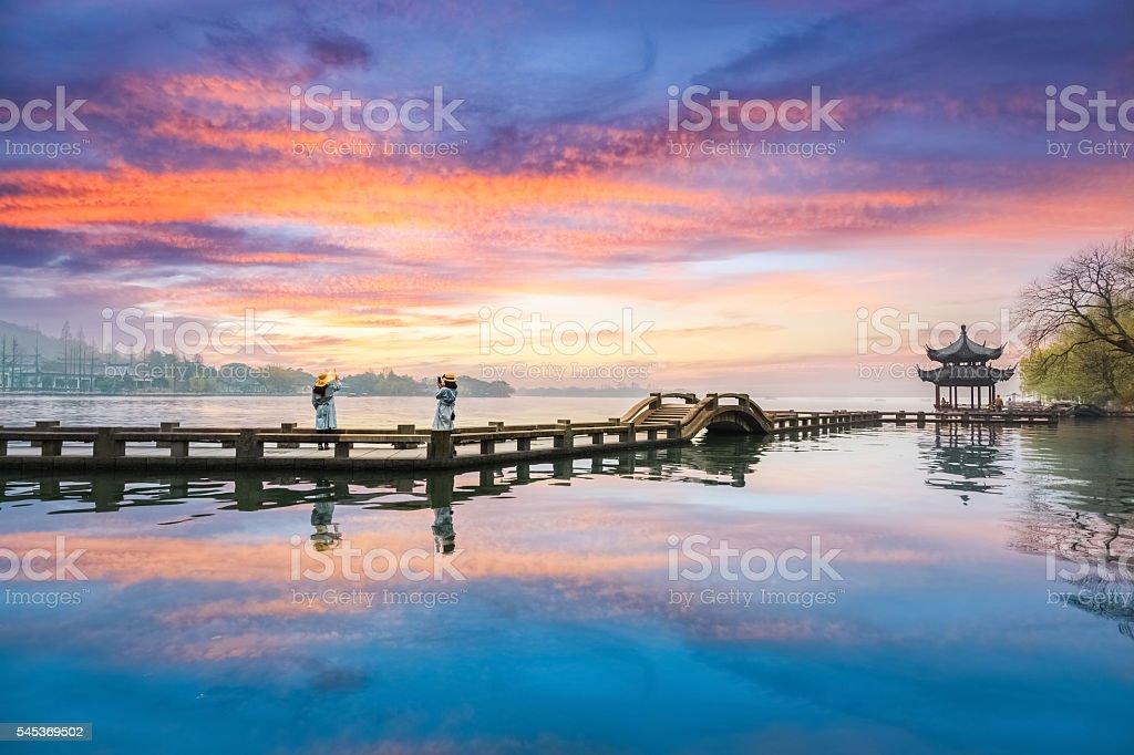 beautiful hangzhou west lake scenery stock photo