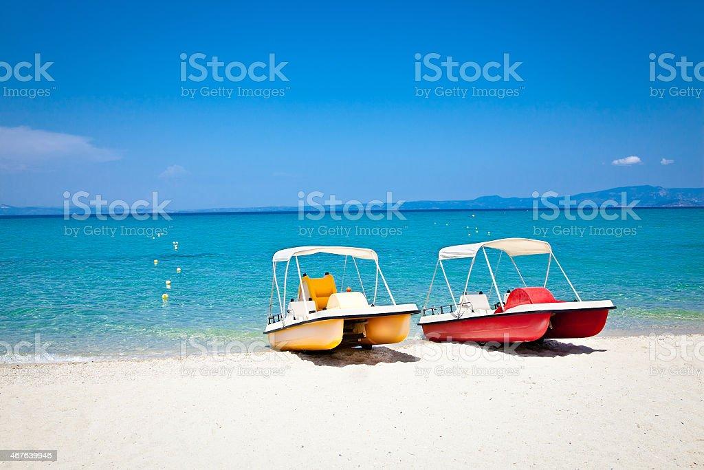 Beautiful Hanioti beach on Kasandra,  Greece. stock photo