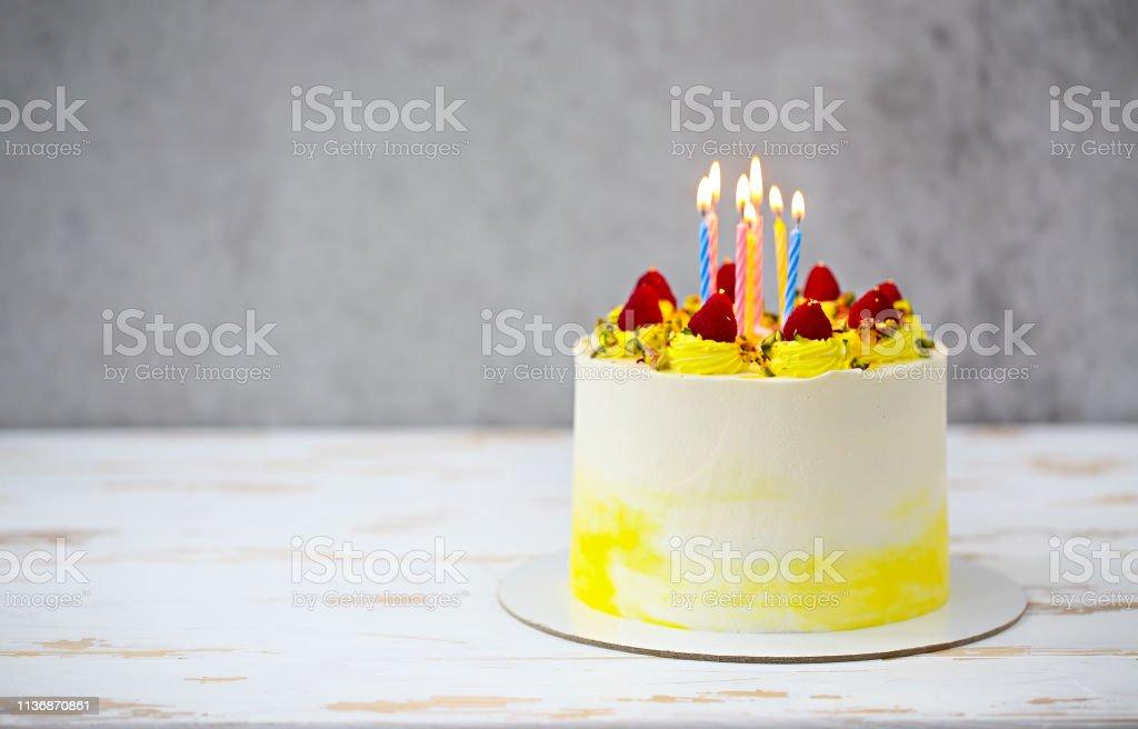 Beautiful happy birthday cake with mascarpone decorated with...