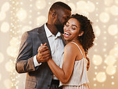 istock Beautiful happy black couple dancing in modern restaurant 1201209427