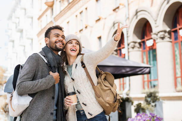 Beautiful happy couple travelling stock photo