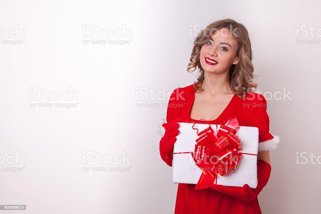 Beautiful happy girl in Santa Claus clothes foto de stock royalty-free