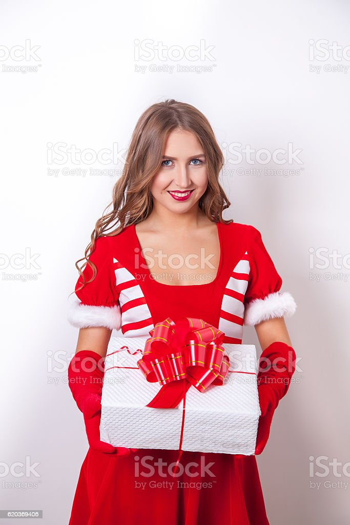 Beautiful happy girl in Santa Claus clothes foto de stock royalty-free