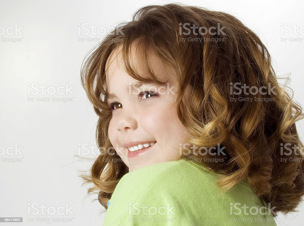 Beautiful Happy Girl with Big Curls royalty-free stock photo