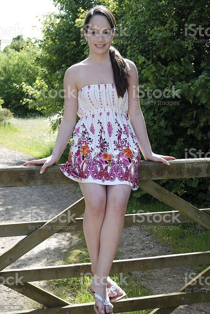Beautiful happy teenager stock photo