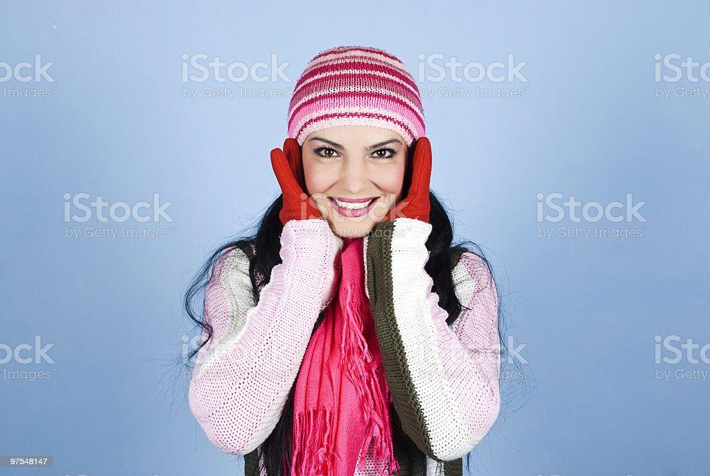 Beautiful happy winter woman royalty-free stock photo