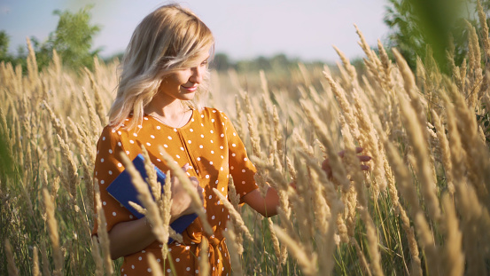 Beautiful happy young woman in field of spikelets and wheat with book on the sunset, blonde in the grass having a good time