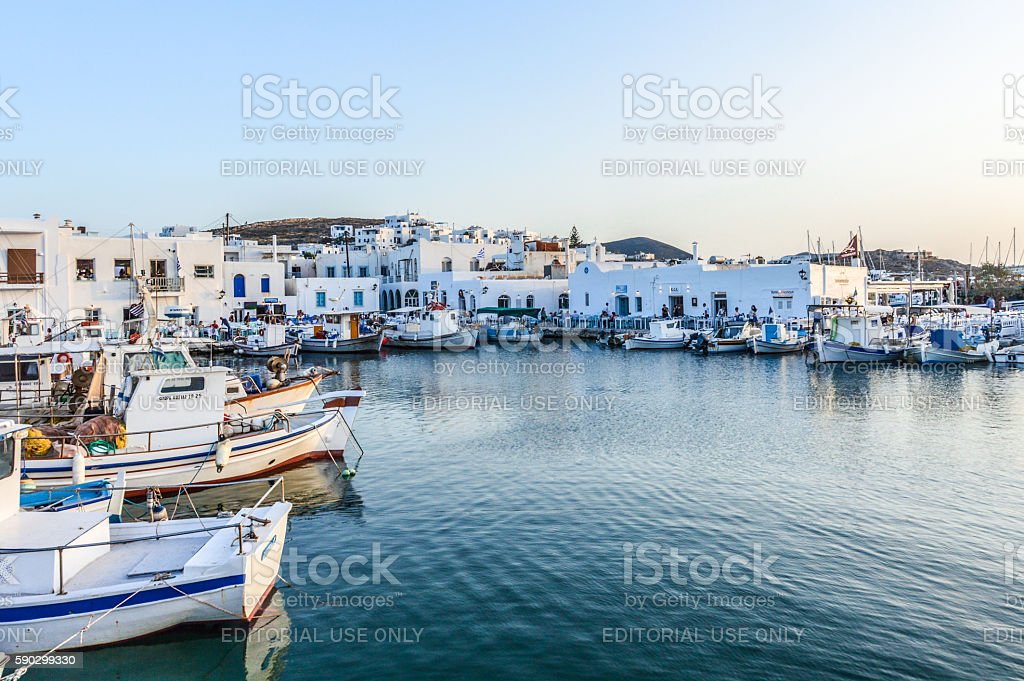 Beautiful harbor of Naoussa, Paros Island, Greece royaltyfri bildbanksbilder