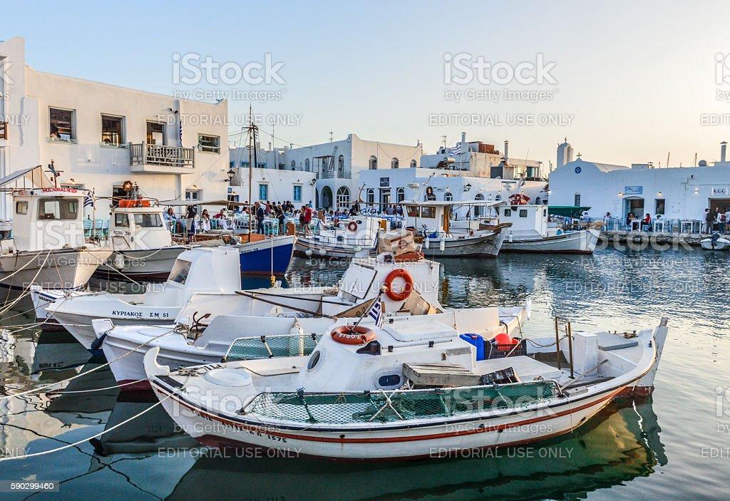 Beautiful harbor of Naoussa, Paros Island, Greece Стоковые фото Стоковая фотография