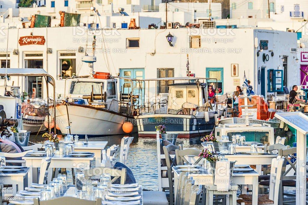 Beautiful harbor of Naoussa, Paros Island, Greece royaltyfri bildbanksbilder