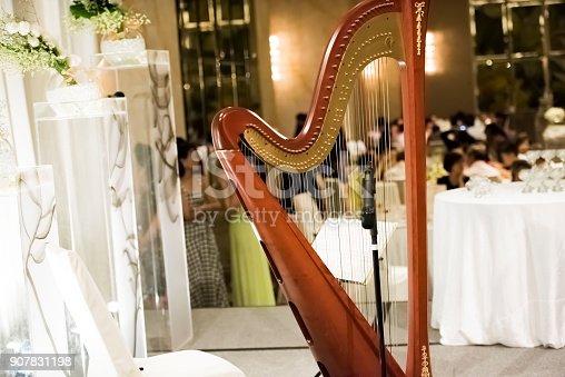 Beautiful harp at the celebration, selective focus
