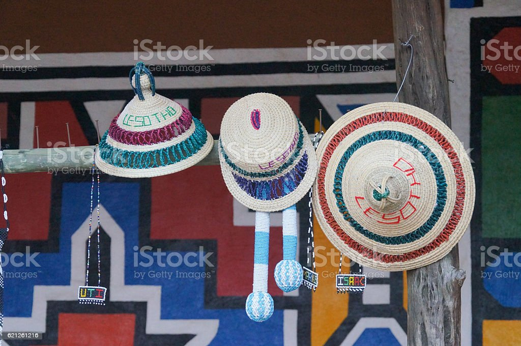 Beautiful hats for sell , South Africa. stock photo