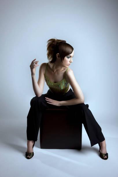 Beautiful Haute Couture Fashion Model, Full Body stock photo