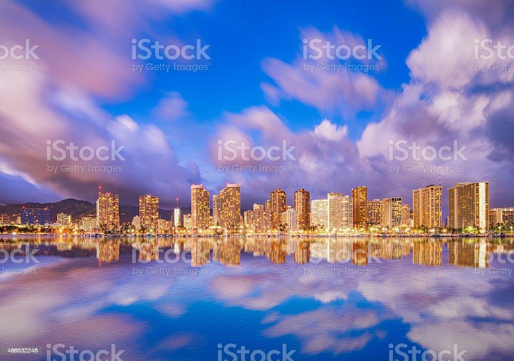 Beautiful Hawaii skyline and reflection at twilight stock photo