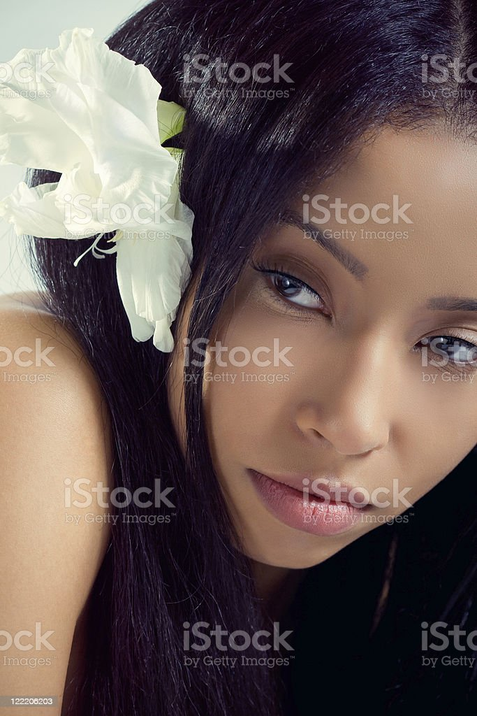 Beautiful Hawaiian woman with a tropical flower in her hair royalty-free stock photo