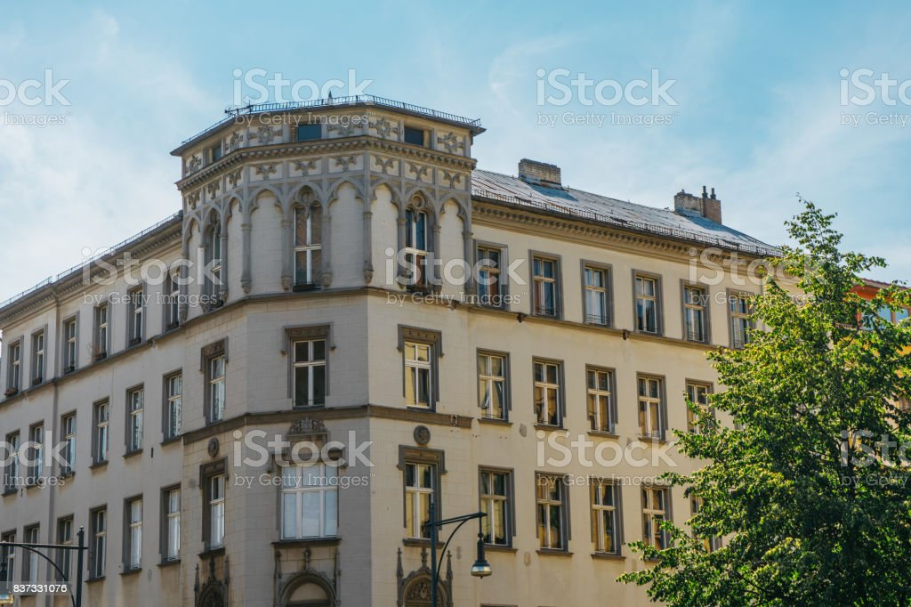 beautiful hdr picture of old corner house with luxury facade stock photo
