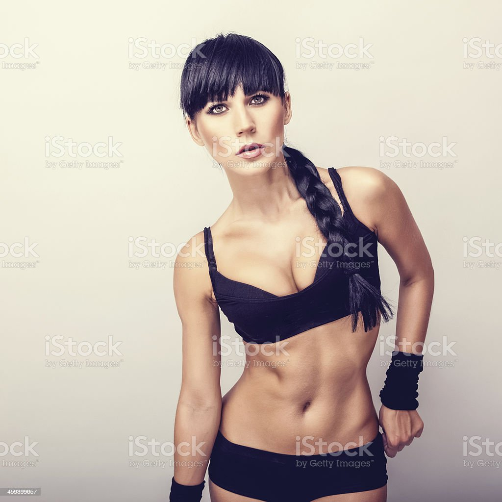 Beautiful healthy fitness woman stock photo