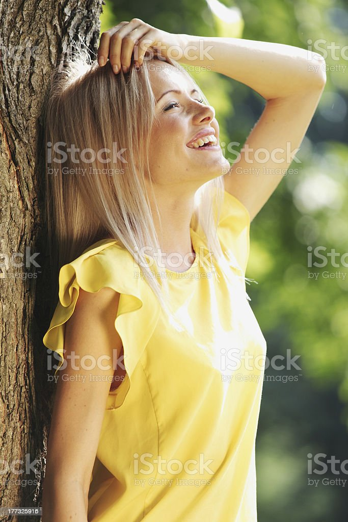 Beautiful Healthy Woman over Nature background royalty-free stock photo
