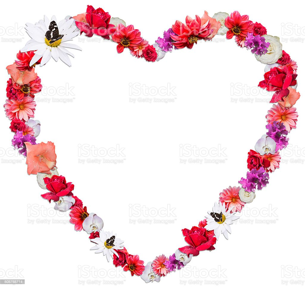 Beautiful heart made of different flowers on white background stock beautiful heart made of different flowers on white background royalty free stock photo izmirmasajfo
